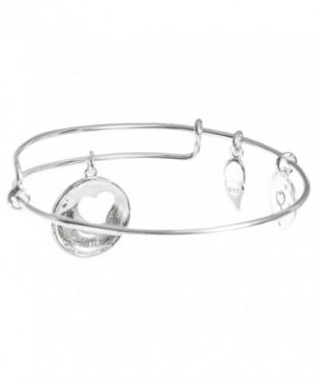 Sterling Silver Heart Adjustable Bangle