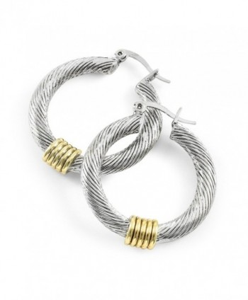 Glamouresq Two-Tone High End Rhodium Plated 17mm Hoop Earrings - CX186RKGTXK