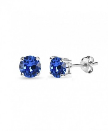 Sterling Silver 5mm Round Prong-set Stud Earrings created with Swarovski Crystals - September - Blue - CF185WCHH4C