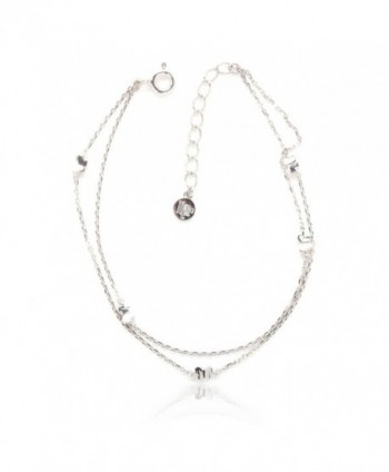925 Sterling Silver 2 Row Cable Chain Bracelet with 5 Butterfly with LP Logo tag - CZ1260WX63V
