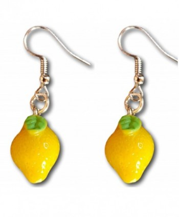 Vegetable and Fruits Resin Dangle Charm Dangle Earrings by Pashal - Lemons - CZ183THDOM5