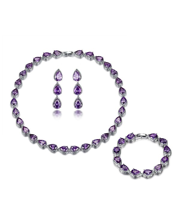 GULICX Silver Plated Base Wedding Party Amethyst-Color Jewelry Set Bracelet Necklace Earrings Women - CN12N5OJWLH