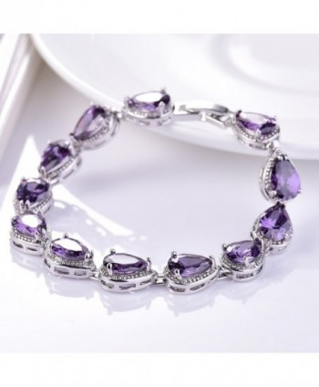 GULICX Amethyst Color Bracelet Necklace Earrings