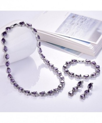 186a9688c724bf Available. GULICX Silver Plated Base Wedding Party Amethyst-Color Jewelry  Set Bracelet Necklace Earrings ...