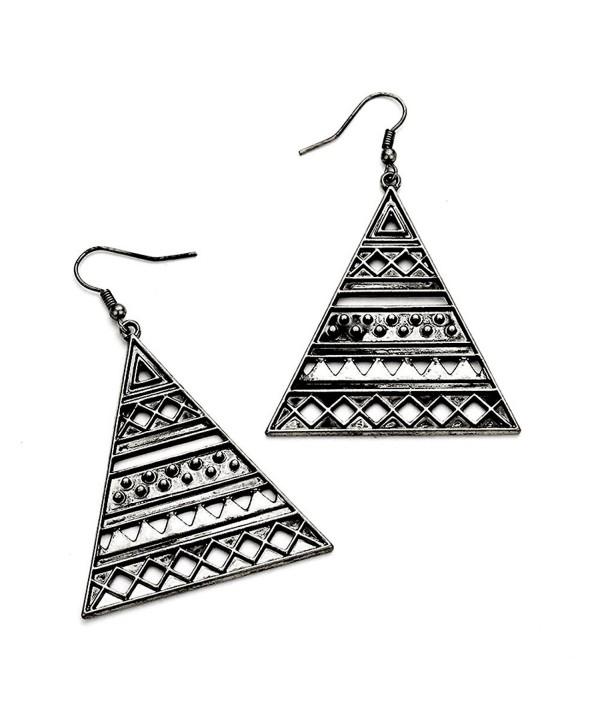 Antiqued Silver Pyramid Drop Earrings - CG122I4UXKJ