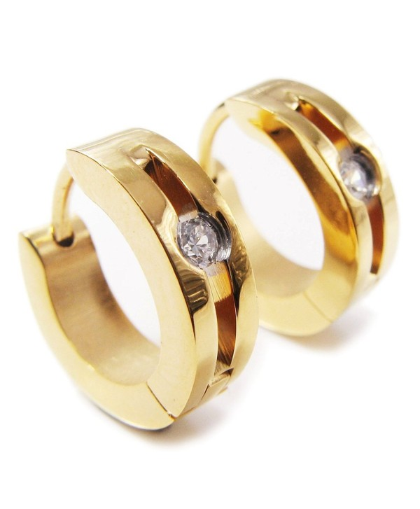 Pair Stainless Steel Gold Color Hoop Earrings 1 Cubic Zirconia - CW11BWM29RT