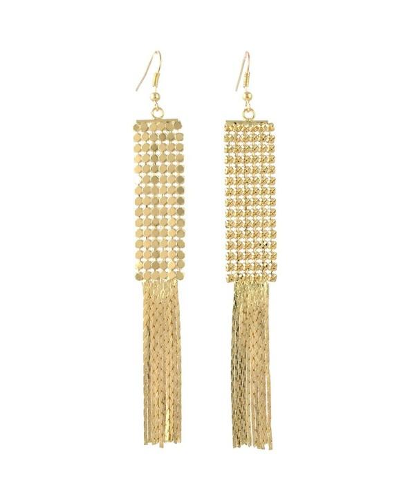Idealway Women's Fashion Generous Long Metal Smooth Sequins Tassel Pendant Drop Earrings (Gold) - CB187E5T4WZ