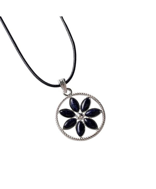 JOYA GIFT Natural 7 Chakra Oval Gemstone beads Alloy Crystal Reiki Pendant Nacklace - Blue Goldstone - CO12LK5OSZ3