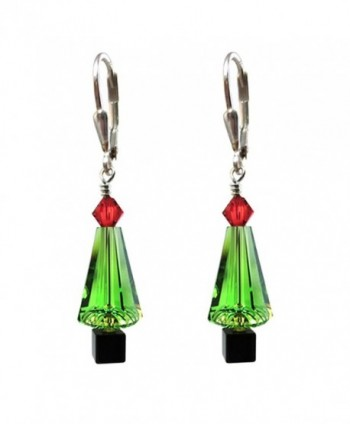 Green Christmas tree Earrings Made with Swarovski Crystal elements Silver Leverback - CV11TRGKHN5