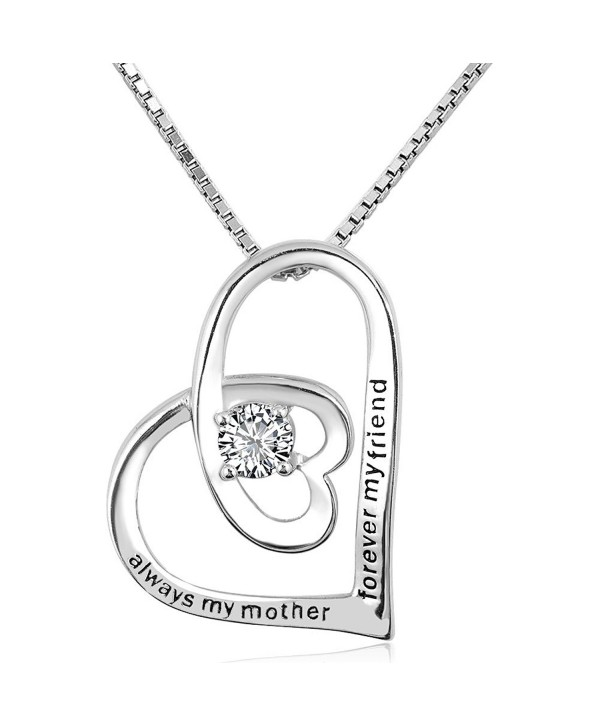"CharmSStory ""Always My Mother Forever My Friend"" Sterling Silver Necklace Pendant For Mom - White - CG185W3ZL2W"