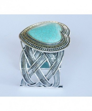 Turquoise Heart Silver tone Cuff Bracelet - Kikis Turquoise Heart Cuff - C811C475879