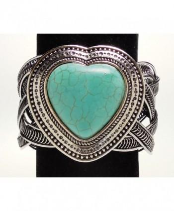 Turquoise Heart Silver tone Bracelet