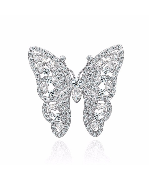 GULICX Shinning Butterfly Brooch Pin Silver Plated Base Party Gift with Full White Cubic Zirconia - C9128HYRI57