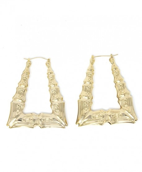 GemGem Jewelry Triangle Hollow Casting Bamboo Pincatch Earrings (2.5 Inches- Gold Tone) - C411G1X8FXL