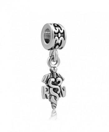 LovelyJewelry Nurse Nursing RN Registered Caduceus Charms Dangle Beads For Bracelet - CB12FK63P9X