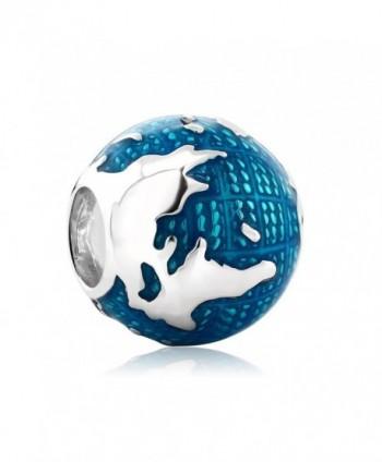 925 Sterling Silver European Style Globe Traveling Bracelet Bead Charm - C01824XGM59