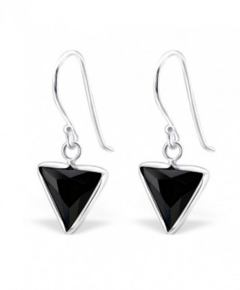 925 Sterling Silver Jet Black CZ Triangle Fishhook Earrings 23316 - CC12DHYQGPZ