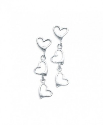 Sterling Silver Three Open Heart Dangle Earrings - CI12FVDE9D1