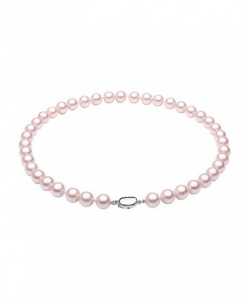 "South Sea Shell Pearl Beaded Strand Necklace Choker with Platinum Plated Copper Clasp Silver Tone 18"" - Pink - CV1884NUTGL"