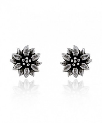 925 Sterling Silver Oxidized Mini Flower Blooming Stud Earrings - C911NUV18TF
