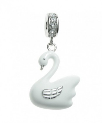 Rhodium-plated Sterling Silver White Swan Swarovski Elements Crystal European Style Dangle Bead Charm - C311APG4VZZ