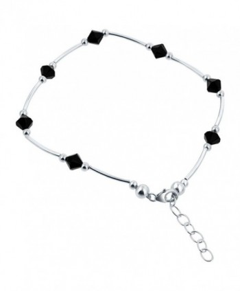 Gem Avenue Sterling Silver Swarovski Elements Black Bicone Crystal Ankle Bracelet 9 to 10 inch Adjustable - C9111CRMG27