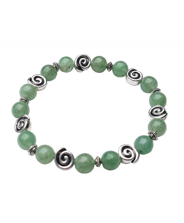 "Aventurine Bracelet with Celtic Knot Swirls- 7 1/2""- Stretch Style - CC11LP7I1Q9"