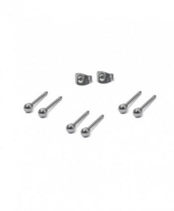 3 Pairs Stainless Steel Round Ball Stud Earrings Set- 3mm Stud Earrings - CU11V7TFUVT
