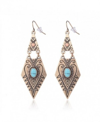 Ethnic Antique Gold Silver Double Layer Mystic Totem Carved Oval Resin Teardrop Dangle Earring - Gold - CW12M23ZUF9