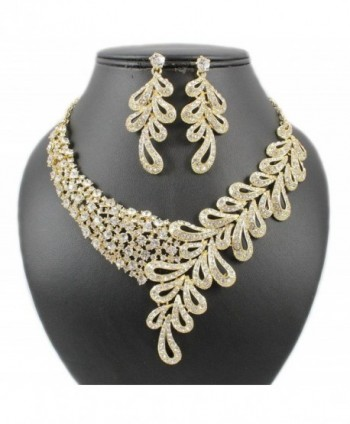 Janefashions ELEGANT FLORAL AUSTRIAN RHINESTONE BRIDAL NECKLACE EARRINGS SET GOLD TONE N1786G (Gold) - CT12K7BTF1N