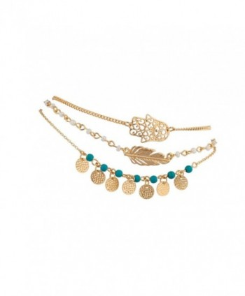 Hamsa Evil Eye Leaf Feather Turquoise Bead BFF Best Friends Forever Anklet Set - Gold - CF11VUAPQG3