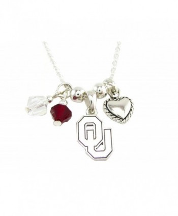Oklahoma Sooners Red Clear Austrian Crystal Heart Logo Silver Chain Necklace OU - CV11QZVUEWJ
