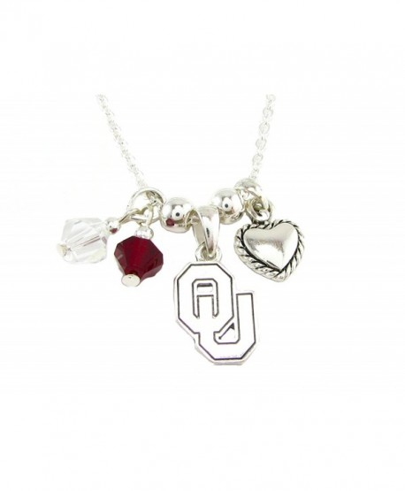 Oklahoma Sooners Red Clear Austrian Crystal Heart Logo Silver Chain Necklace OU - CV11QZVUEWJ