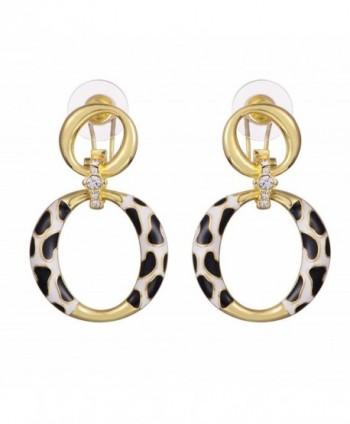 XZP 2 Circles Leopard Earrings Women Fashionable Drop Earring Jewelry for Mum - Gold with Leopard - CV1882O7GC4
