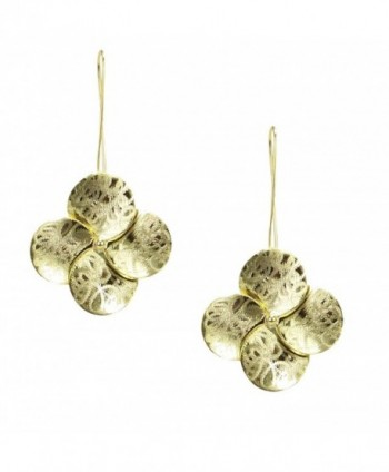 Sheila Fajl Textured Flower Drop Earrings in Brush Gold Plated - CJ12MZWKHE3