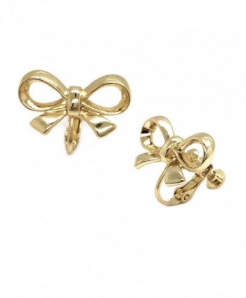 Sparkly Bride Clip on Earrings Bow Knot Gold Plated Adjustable Screwback Women Fashion - CY128IMVWW3