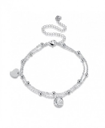 HongBoom Jewelry Fashion Women's 925 Sterling Silver Plated Chain Charm Anklet - A084 - CK182S57N8H