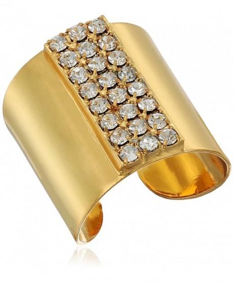 """Sorrelli """"Lisa Oswald"""" Crystal Rhinestone Rows Cuff Ring- Size 7-9 - C712EYJGPSP"""