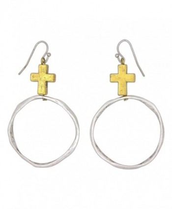 Fabu Jewelry Gold-Toned Cross with Hammered Open Circle Fish Hook Earrings - CK123Z8R8A9