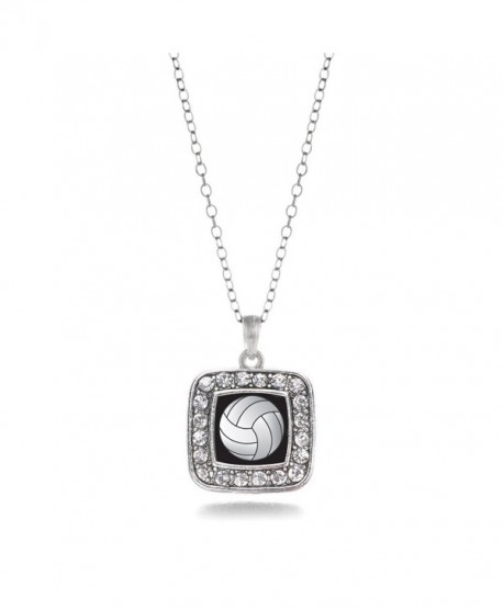 Volleyball Sport Charm Classic Silver Plated Square Crystal Necklace - CG11MCHXBGL