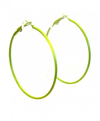 Color Hoop Earrings Simple Thin Hoop Earrings 2.25 inch Hoops Assorted - Green - CB12NAAV7KN