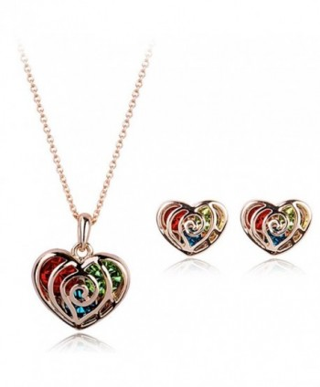 Multicolour Gold Heart Made With Swarovski Crystal 18k Gold Finish Pendant & Earrings Jewelry Set - CC11X6SU1YP