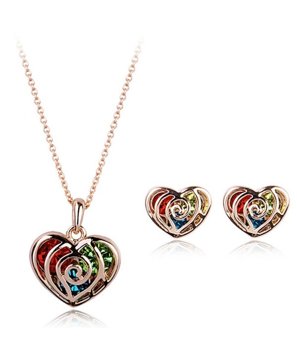 Multicolour Gold Heart Made With Swarovski Crystal 18k Finish Pendant Earrings Jewelry Set Cc11x6su1yp