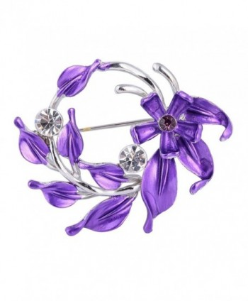SENFAI Flower Brooch Lapel Pins Women Wedding Crystal Broches Bouquets Decorative Clothes Jewelery - Purple - CZ126T8XB1N