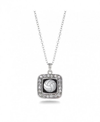 Volleyball Classic Silver Crystal Necklace