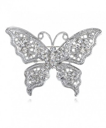 Alilang Clear Crystal Rhinestone Filigree Butterfly Brooch Pin - Pink or White Tone - White - CG1163ZMVMX