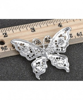Alilang Silvery Rhinestone Filigree Butterfly in Women's Brooches & Pins
