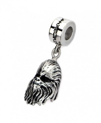 Official Stainless Steel Silver 3D Chewbacca Face Dangle Charm Bead - CF124YP1N7R