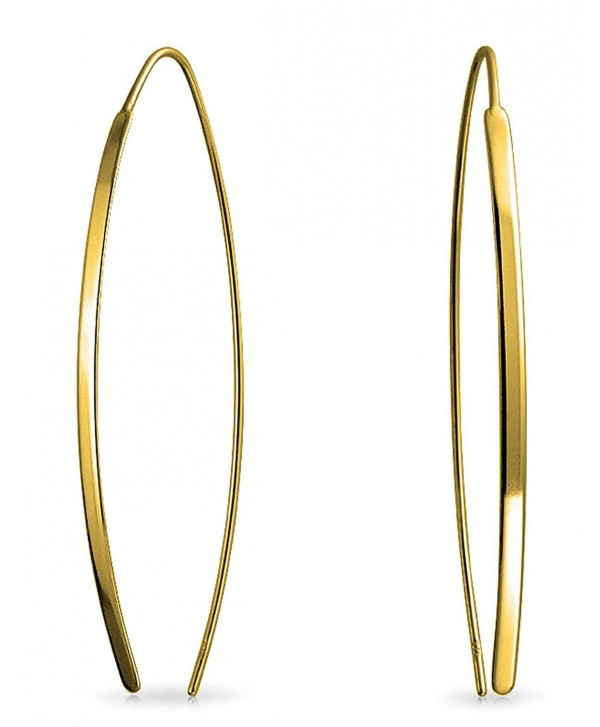 Bling Jewelry Gold Plated .925 Silver Long Oval Linear Threader Earrings - CB12O05U6BB