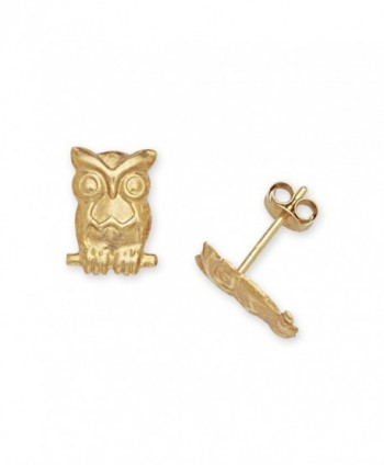 Solid 14k Yellow Gold Owl Friction-Back Post Earrings - JewelryWeb - C2111M627NV